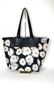 Anthropologie NWT Miss Albright Vegan Leather Tote Purse Black Floral Motiff