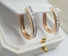 Yellow gold finish oval hoop channel set created diamond earrings gift idea