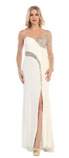 Evening Gown Maxi Dress Size 8 Ivory Sequined One Shoulder Sleeve Prom P-24