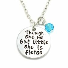 925 Silver Plt 'Though Be But Little She Is Fierce' Necklace Shakespeare A