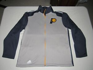 Indiana Pacers Men's Adidas Gray Blue Zip Up Long Sleeve Sweatshirt Size L