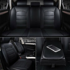 Luxury Full Surround PU Leather Car Seat Cover 5-seat Breathable Cushion Black