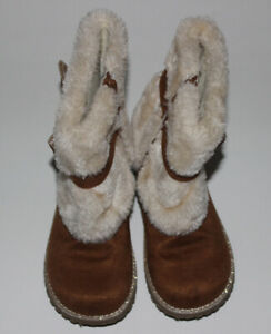 New Girls OLIVE & EDIE Faux Suede Boots w Faux Fur Size 11