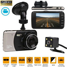 "4"" HD Dual Lens Car Dash Cam 1080p Driving Camera Vehicle Camcorder Recorder DVR"