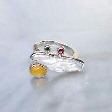 Äthiopien Opal Ring, 925er Silber, Edelsteinring (21129), mit Perle, Turmalin
