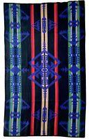 Pendleton wool blanket Aztec Beaver State Blue black twin throw 66x39