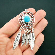Dream Catcher Charm Antique Silver Tone Boho Style with Faux Turquoise - SC2505