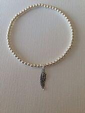 Pulsera de plata esterlina Ala de ángel, Abalorios Stretch ❤ hecho a mano de regalo