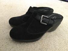 Cole Haan Nike Air Damen Leder/Wildleder Clog Pantoletten Slipper Sz 5.5B schwarz