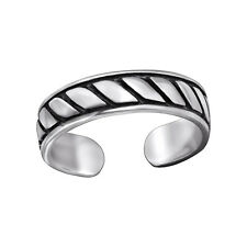 Tjs 925 Sterling Silver Toe Ring Rope Line Adjustable Body Jewellery Oxidised