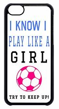 Cute Soccer Girl Pink Ball Quote Black / white Case Cover For Apple iPod 4 5 6