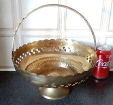 Beautiful Big Brass/Bronze Flower Basket,H-13.5cm/D-25cm/W-560g,Very Decorative