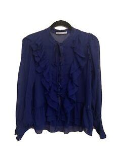 lee mathews silk blue top size 4