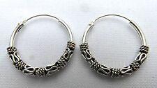 Pair Of Sterling Silver ( 925 ) Bali  Hoop Earrings 16  MM  !!     Brand  New !!