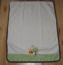 Disney Baby Winnie The Pooh Bear Fleece Cream Sunshine Apple Tree Hunny Blanket