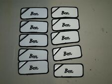 (10) Ben Embroidered Name Tag-Patch Sew on/ Iron on New Black Trim