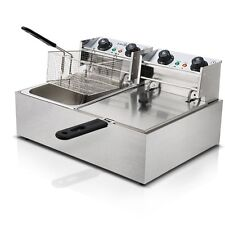Steel Benchtop Electric Deep Fryer w Double Oil Basket Suitable for Commercial