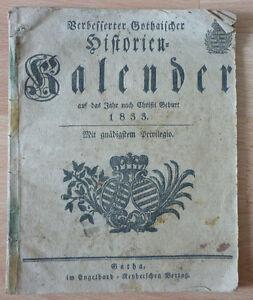 Kalender, Verbesserter Gothaischer Historien kalender auf das Jahr 1833