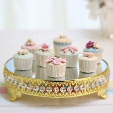 30cm Miroir Support à Gâteaux Présentoir Cupcake Plateau Mariage Fête Cristal Or