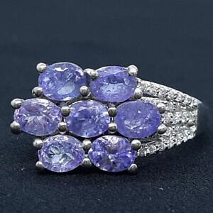 World Class 2.55ct Tanzanite & Diamond Cut White Sapphire 925 Silver Ring Size 7