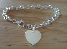 "7.25"" Sterling Silver Oval Rolo 15gram Heart Charm Bracelet with Lobster clasp"