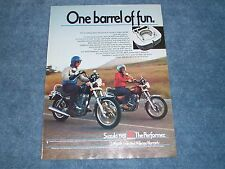 "1981 Suzuki GN-400T 400X Vintage Ad ""One Barrel of Fun"""