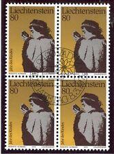 STAMP TIMBRE LIECHTENSTEIN OBLITERE BLOC DE 4 N° 666 ANNEE DE L'ENFANT