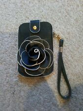 LEATHER PHONE CASE, BLACK with FLOWER AND CARRY HOLDER