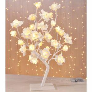 Lichterbaum LED weiß 45cm 32 LEDs Baum Rosen Lichtbaum Rosenblüten Leuchtbaum