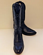 Vintage Larry Mahan Leather Cowboy Boots Mens 10D Black Handmade USA Texas