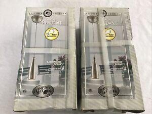 2 HAMPTON BAY Pendant Lights Model 619 869 Satin Nickel Finish New in box w/bulb