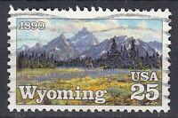 USA Briefmarke gestempelt 25c Wyoming 1890 Landschaft / 236