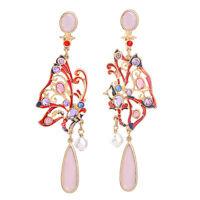 Stylish Anthropologie Amelia Abstract Butterfly Enamel Red Blue Purple Earrings