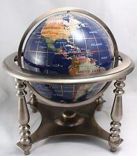 """Large Lapis Inlaid Gemstone Desk Globe 13"""""""