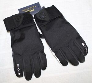 Polo Ralph Lauren Men Black Water Repellent Silicone Grip Gloves NWT Size L