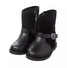 New Gymboree Girls Dot Moto Boots Size 8 Zip Up Buckle Accent