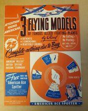 VINTAGE 1944 3 FLYING MODELS OF FAMOUS ALLIED FIGHTING PLANES- WORLD WAR II MINT
