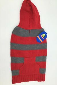 Top Paw Chunky Sweater with Pocket and Hood Red Gray Stripes Pet Dog NWT