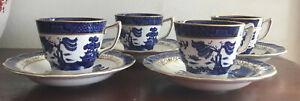 Gorgeous Vintage Booths Real Old Willow A8025 Cups & Saucers Gilded Made England