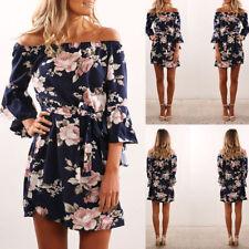 Hot Ladies Summer Floral Print Dress Off Shoulder Beach Beautiful Mini Sundress