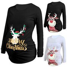 Christmas Maternity Tops Pregnant Womens Casual Long Sleeve Cartoon Blouse Shirt