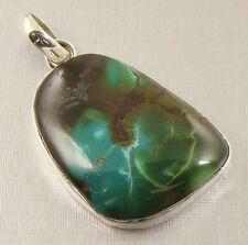 Semi-Precious REAL GENUINE TURQUOISE Gemstone 925 Sterling Silver Pendant - A35
