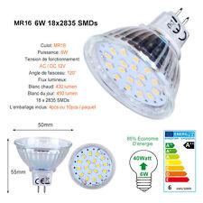 4 ou 10 Ampoule MR16 GU5.3 LED 6W Lampe Spot Light AC DC 12V Blanc Chaud du Jour