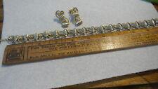 Vintage DUANE Rhinestone NECKLACE & EARRINGS SET Clear Rhinestones,Goldtone