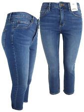 New Ladies Ex M&S Bright Indigo Mid Rise Cropped Jeans Skinny Trouser Size 22