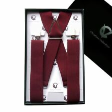 Men's Burgundy X3.5cm Braces Mens Suspenders