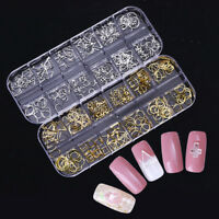 Gold Silver Hollow Metal Nail Rivets Cross Studs Nail Art 3D Decoration