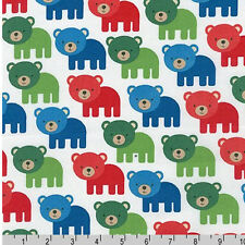 FIVE YARDS-Woodland Pals Bear red green Robert Kaufman Fabric 15955-204 Primary