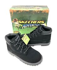 Skechers Mecca-Bunkhouse Lace Boots Youth Boy's Size 3.5 Black NEW