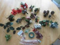 Artificial Wreath Making Supplies Pine Cones Mistletoe Poinsettia Holly Sprigs